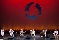 Yuval Ron Ensemble stage red background