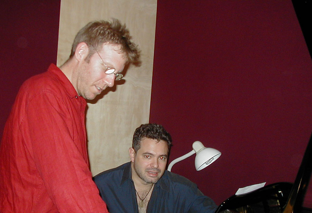 Yuval Ron in the studio at the piano with Bryan Pezzone
